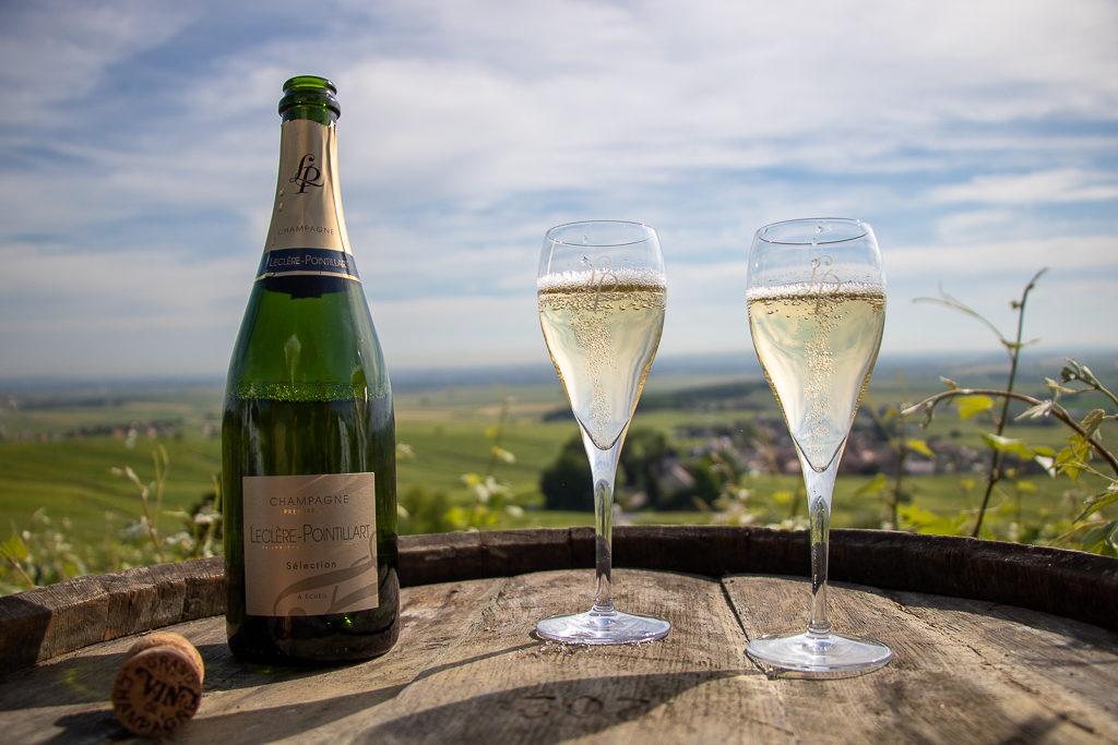 champagne leclere pointillart vignes bouteille coupes tonneau